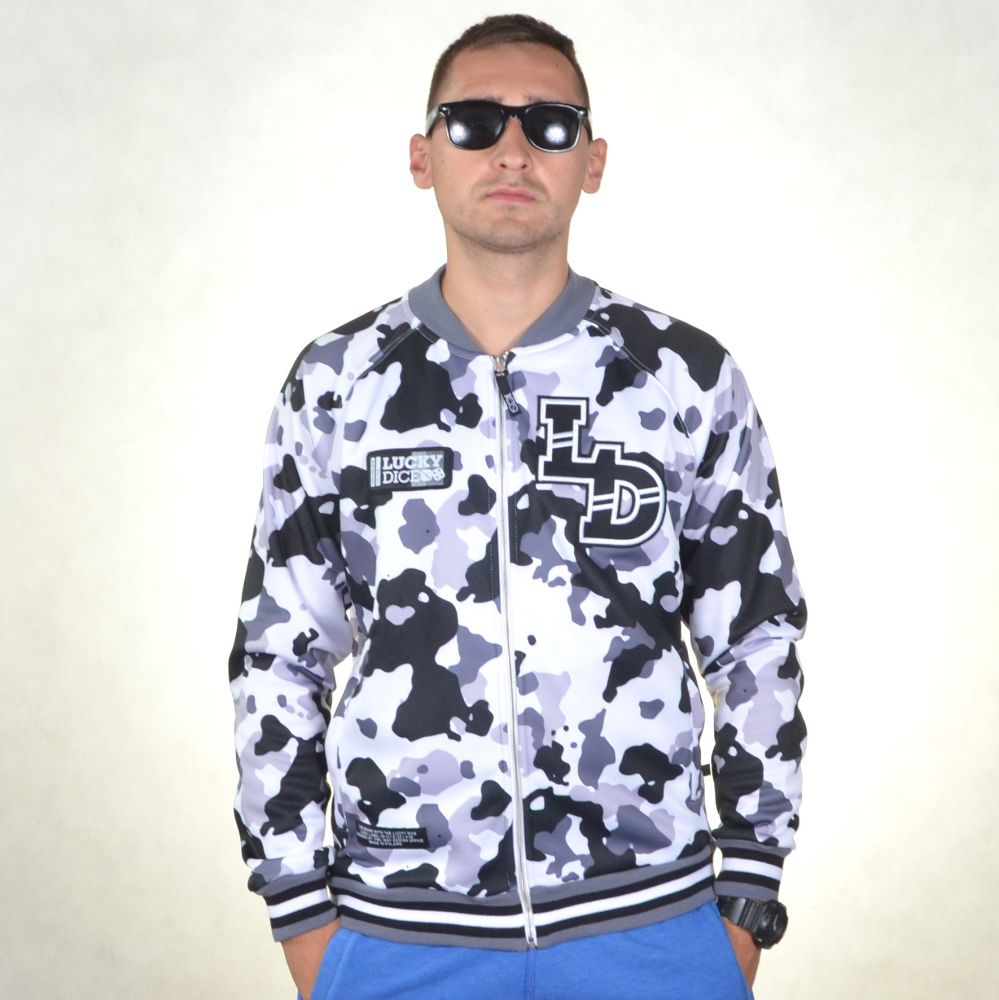 LUCKY DICE BLUZA BEZ KAPTURA SLIPPERY ZIP CAMO