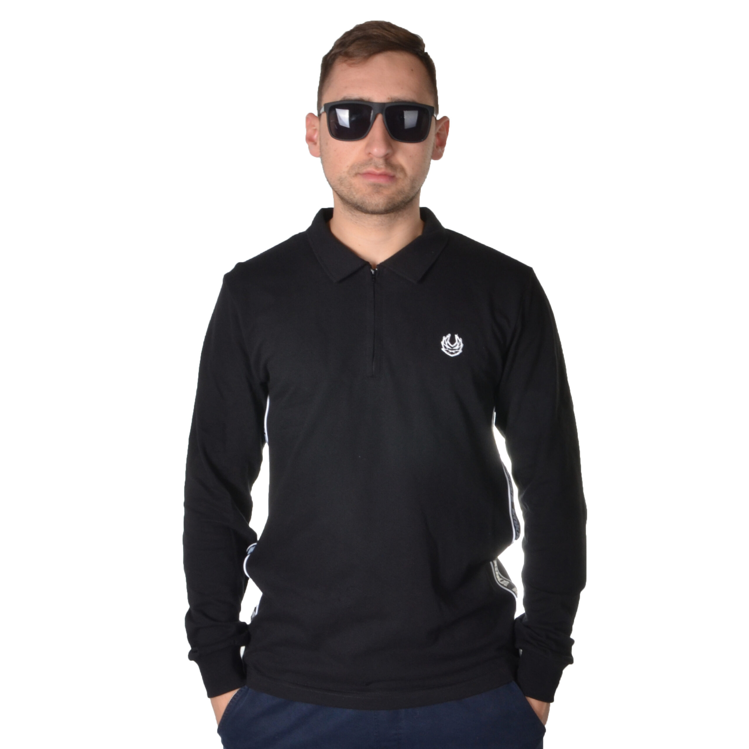KOKA LONGSLEEVE ZIPPER POLO TAPE CZARNY