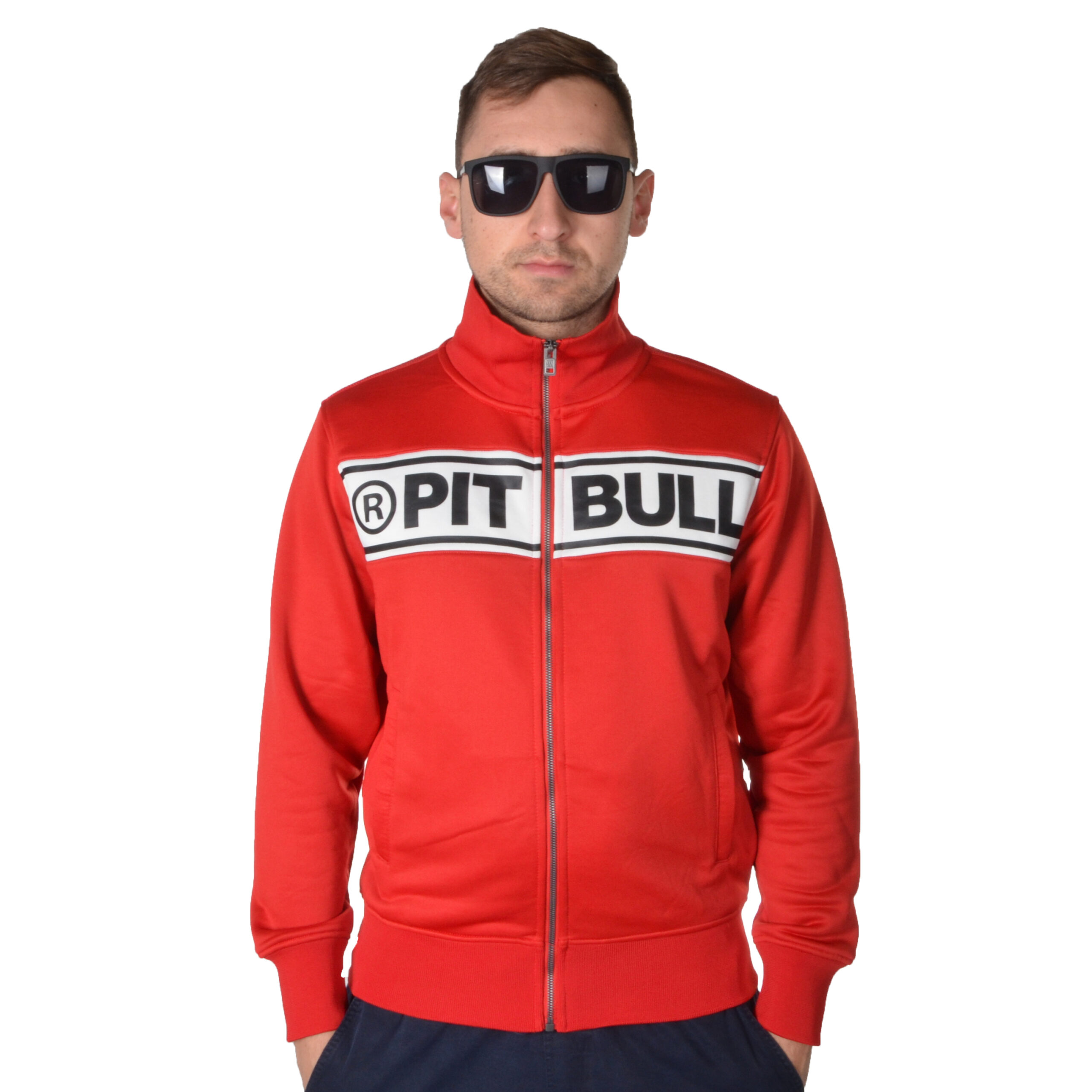 PIT BULL WEST COAST BLUZA ROZPINANA OLDSCHOOL CHEST LOGO CZERWONA